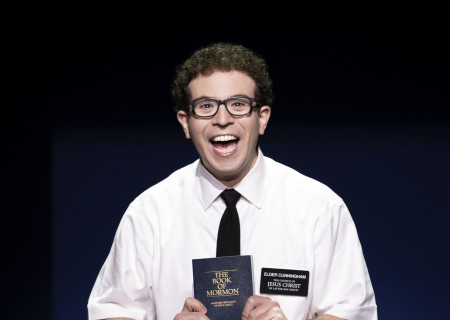 "Jordan Matthew Brown in ""The Book of Mormon."" With book, music and lyrics by Trey Parker, Robert Lopez and Matt Stone, choreography by Casey Nicholaw and direction by Nicholaw and Parker, ""The Book of Mormon"" will be presented by Center Theatre Group at the Ahmanson Theatre February 18 through March 29, 2020. For more information, please visit CenterTheatreGroup.org. Press Contact: CTGMedia@CTGLA.org / (213) 972-7376. Photo by Julieta Cervantes."