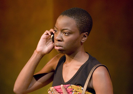 "Danai Gurira in ""In the Continuum"" at the Kirk Douglas Theatre. Gurira will participate in Center Theatre Group's 50th Anniversary Celebration on Saturday, May 20, 2017, at the Ahmanson Theatre. For more information, visit CenterTheatreGroup.org/50thCelebration. Media Contact: CTGMedia@CenterTheatreGroup.org / (213) 972-7376. Photo by Craig Schwartz."