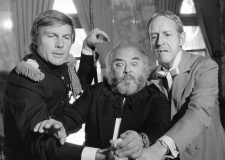 (L-R) Adam West, Ezra Stone, and William Schalert in 'Volpone.'