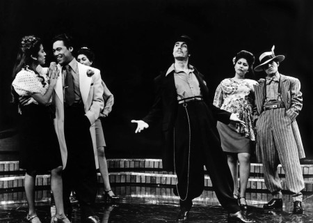 "(L-R) Rose Portillo, Daniel Valdez, Evelina Fernandez (partially seen), Edward James Olmos, Rachel Levario, and Mike Gomez in the World premiere of ""Zoot Suit"" at the Mark Taper Forum."