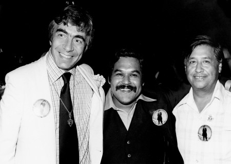 (L-R) Gordon Davidson, Luis Valdez and Cesar Chavez in 1978.