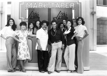 "Luis Valdez and the cast of ""Zoot Suit"" at the Mark Taper Forum in 1978."