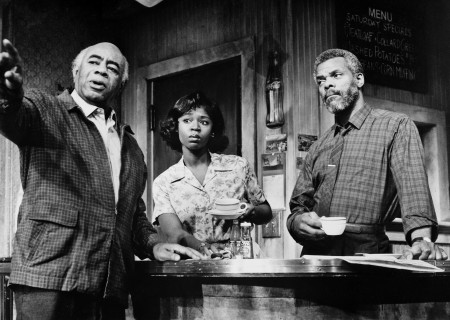 (L - R) Roscoe Lee Browne, Cynthia Martells, and Al White appear in a scene from Lloyd Richards' Yale Repertory Theatre production of August Wilson's 'Two Trains Running.'