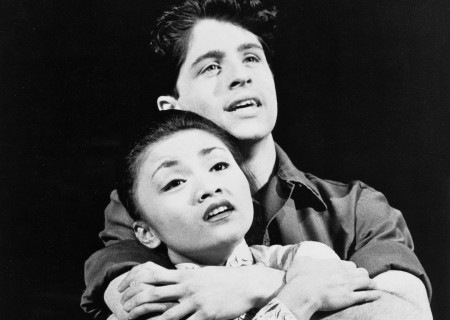 Peter Lockyer as Chris and Jennifer C. Paz as Kim in a scene from the Cameron Mackintosh production of 'Miss Saigon,' a musical by Alain Boublil and Claude-Michel Schonberg, the creators of 'Les Miserables.'