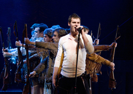 Benjamin Walker (as Andrew Jackson) and the cast of 'Bloody Bloody Andrew Jackson.'