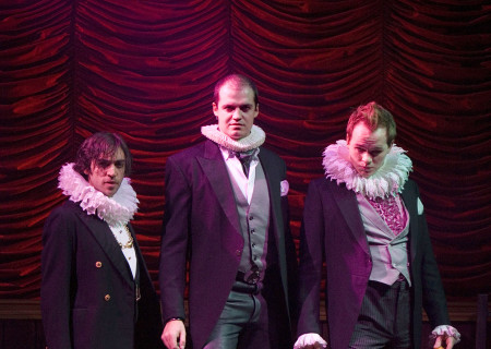 (L-R) Ben Steinfeld, Adam O'Byrne, and Brian Hostenske in 'Bloody Bloody Andrew Jackson.'