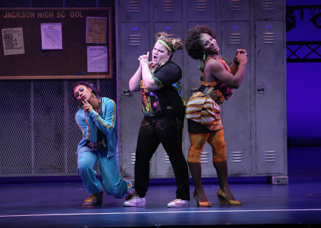 "(L–R) Ariana DeBose, Ryann Redmond, and Gregory Haney in the national tour of ""Bring It On: The Musical."""