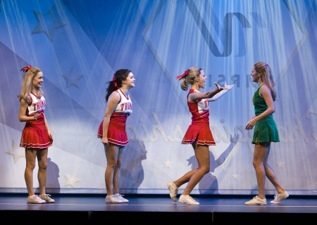 "(L–R) Elle McLemore, Janet Krupin, Kate Rockwell, and Taylor Louderman in the national tour of ""Bring It On: The Musical."""