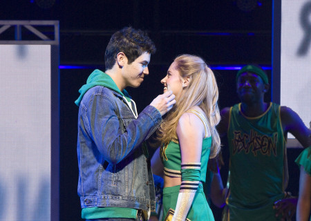 "(L–R) Jason Gotay and Taylor Louderman in the national tour of ""Bring It On: The Musical."""
