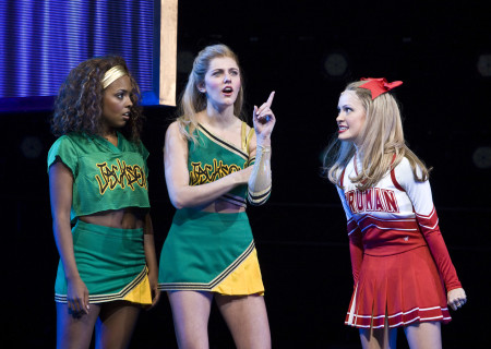 "(L–R) Adrienne Warren, Taylor Louderman, and Elle McLemore in the national tour of ""Bring It On: The Musical."""