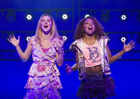 "(L–R) Taylor Louderman and Adrienne Warren in the national tour of ""Bring It On: The Musical."""