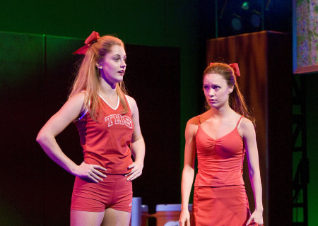"(L–R) Taylor Louderman and Elle McLemore in the national tour of ""Bring It On: The Musical."""