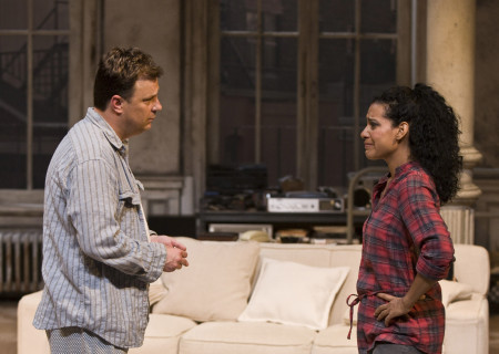"Brooks Ashmanskas and Zabryna Guevara in Lanford Wilson's ""Burn This"" at the Mark Taper Forum. ""Burn This,"" directed by Nicholas Martin, opens April 3 and continues through May 1, 2011."