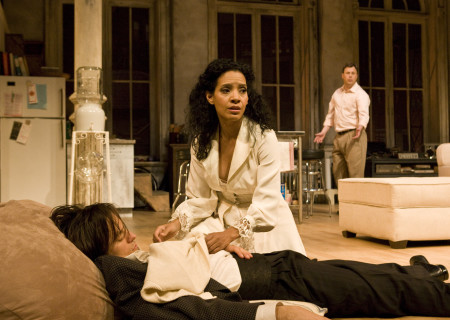 "(L–R) Adam Rothenberg, Zabryna Guevara, and Brooks Ashmanskas in Lanford Wilson's ""Burn This"" at the Mark Taper Forum. ""Burn This,"" directed by Nicholas Martin, opens April 3 and continues through May 1, 2011."
