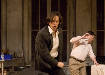 "(L–R) Ken Barnett (falling), Adam Rothenberg, and Brooks Ashmanskas in Lanford Wilson's ""Burn This"" at the Mark Taper Forum. ""Burn This,"" directed by Nicholas Martin, opens April 3 and continues through May 1, 2011."
