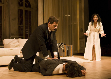 "(L–R) Ken Barnett, Adam Rothenberg (prone), and Zabryna Guevara in Lanford Wilson's ""Burn This"" at the Mark Taper Forum. ""Burn This,"" directed by Nicholas Martin, opens April 3 and continues through May 1, 2011."
