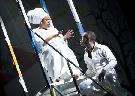 """Melanie Marshall and Sahr Ngaujah in """"Fela!"""""""
