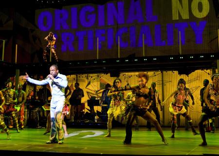 """Sahr Ngaujah as Fela Anikulapo-Kuti and the Broadway cast of """"Fela!"""""""