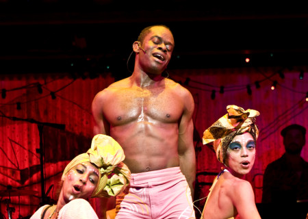 """(L–R) Catherine Foster, Sahr Ngaujah, and Nicole de Weever in the Broadway production of """"Fela!"""""""
