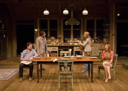 "(L–R) Christopher Evan Welch, Reg Rogers, Johanna Day, and Sharon Lawrence in the world premiere of Theresa Rebeck's ""Poor Behavior"" at the Mark Taper Forum. ""Poor Behavior,"" directed by Doug Hughes, opens September 18 and continues through October 16, 2011."