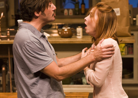 "Reg Rogers and Sharon Lawrence in the world premiere of Theresa Rebeck's ""Poor Behavior"" at the Mark Taper Forum. ""Poor Behavior,"" directed by Doug Hughes, opens September 18 and continues through October 16, 2011."