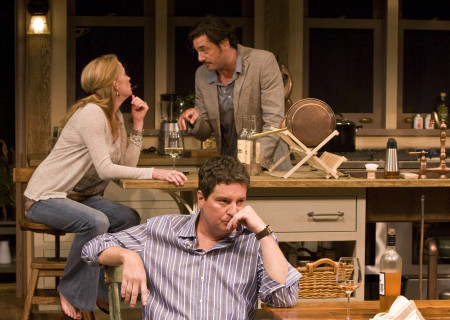 "(Clockwise from L) Johanna Day, Reg Rogers, and Christopher Evan Welch in the world premiere of Theresa Rebeck's ""Poor Behavior"" at the Mark Taper Forum. ""Poor Behavior,"" directed by Doug Hughes, opens September 18 and continues through October 16, 2011."