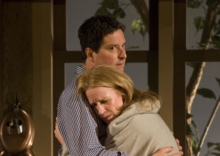 "Christopher Evan Welch and Johanna Day in the world premiere of Theresa Rebeck's ""Poor Behavior"" at the Mark Taper Forum. ""Poor Behavior,"" directed by Doug Hughes, opens September 18 and continues through October 16, 2011."