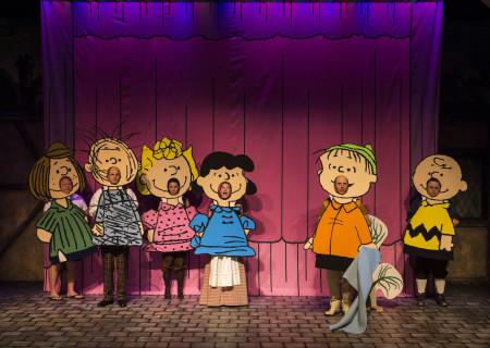 "(L–R) Larry Joe Campbell, Brian Stepanek, Jean Villepique, Amanda Blake Davis, Dan Castellaneta, and Frank Caeti in The Second City's ""A Christmas Carol: Twist Your Dickens!"" at the Douglas."