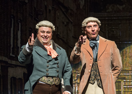 "(L–R) Frank Caeti and Dan Castellaneta in The Second City's ""A Christmas Carol: Twist Your Dickens!"" at the Douglas."
