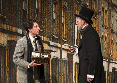 "(L–R) Dan Castellaneta and Ron West in The Second City's ""A Christmas Carol: Twist Your Dickens!"" at the Douglas."