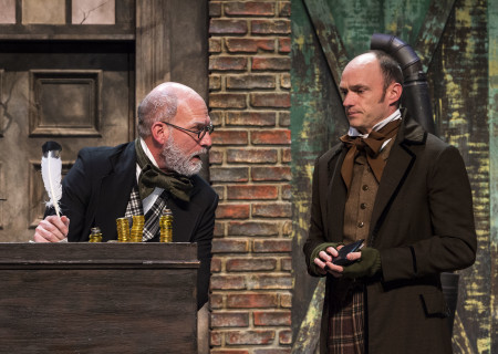 "(L–R) Ron West and Brian Stepanek in The Second City's ""A Christmas Carol: Twist Your Dickens!"" at the Douglas."