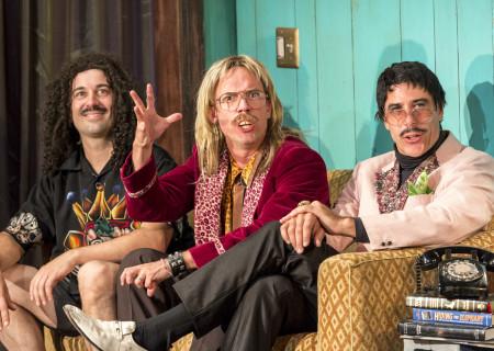 "(L–R) Louie Magic, Daryl Hannah, and Dennis Diamond in ""Elephant Room"" at the Douglas."