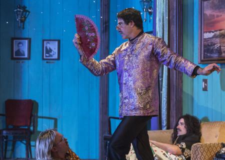 "(L–R) Daryl Hannah, Dennis Diamond, and Louie Magic in ""Elephant Room"" at the Douglas."