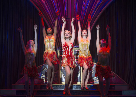 "L-R: Vanessa Sonon, Dionna Thomas Littleton, Rachel York, Courtney Rottenberger, and Jacqueline Burtney in Roundabout Theatre Company's ""Anything Goes."""