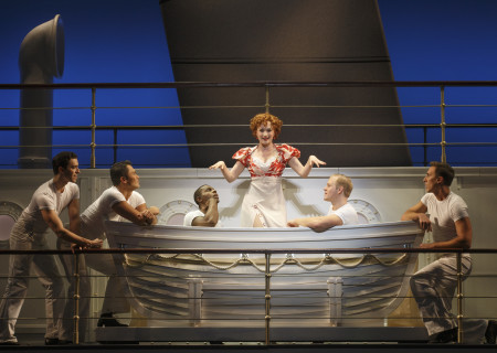 "Joyce Chittick and the cast of Roundabout Theatre Company's ""Anything Goes."""