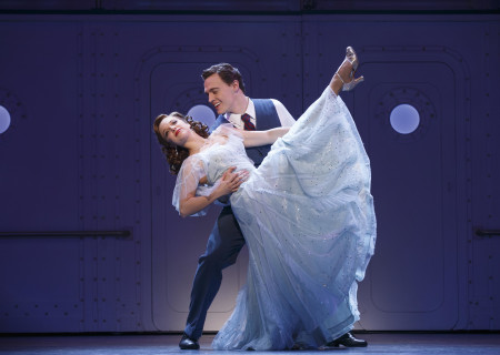 "Alex Finke and Erich Bergen in the Roundabout Theatre Company's ""Anything Goes."""