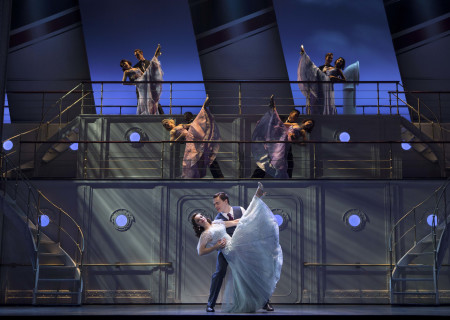 "Alex Finke. Erich Bergen, and the cast of the Roundabout Theatre Company's ""Anything Goes."""