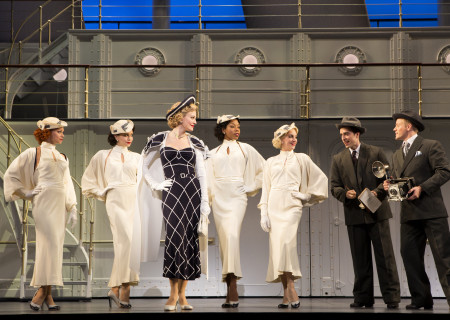 "Rachel York (center) and the cast of Roundabout Theatre Company's ""Anything Goes."""