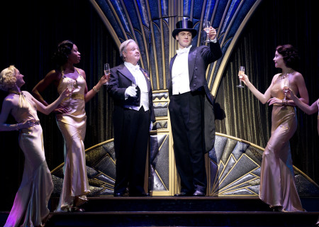 "Center, L-R: Fred Applegate, Erich Bergen, and the cast of Roundabout Theatre Company's ""Anything Goes."""