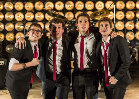 "(L–R) Will Roland, Harrison Chad, Coby Getzug, and Jimmy Brewer in the world premiere of ""The Black Suits"" at the Kirk Douglas Theatre."
