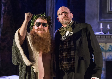 """(L–R) Brendan Jennings and Ron West in The Second City's """"A Christmas Carol: Twist Your Dickens!"""" at the Kirk Douglas Theatre."""