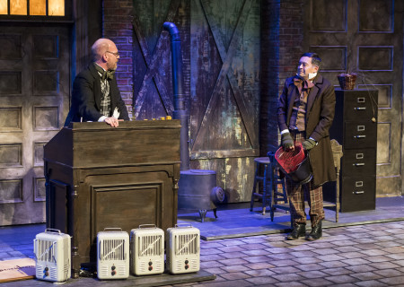 """(L–R) Ron West and Ithamar Enriquez in The Second City's """"A Christmas Carol: Twist Your Dickens!"""" at the Kirk Douglas Theatre."""