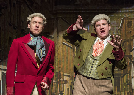 """(L–R) Joe Liss and Brendan Jennings in The Second City's """"A Christmas Carol: Twist Your Dickens!"""" at the Kirk Douglas Theatre."""