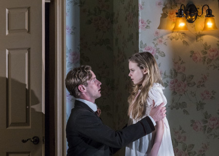 "Adam Haas Hunter and Brighid Fleming in the World premiere of ""The Nether"" at the Douglas."