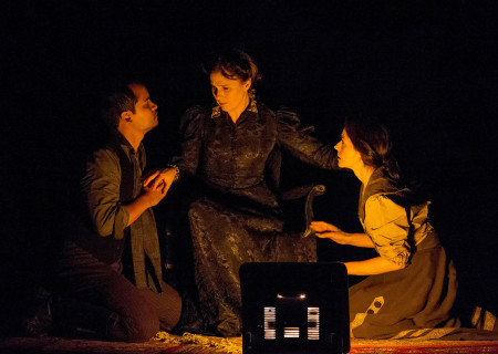 "(L–R) Ramón de Ocampo, Sue Cremin, and Ruth Livier in ""Neva"" at the Douglas."