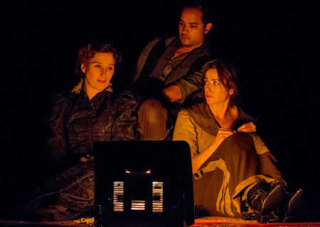 "(L–R) Sue Cremin, Ramón de Ocampo, and Ruth Livier in ""Neva"" at the Douglas."