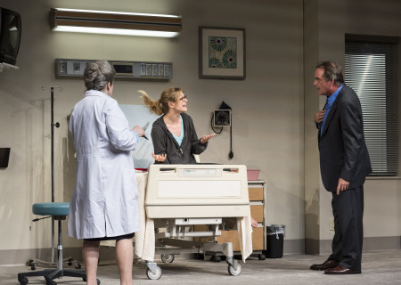 """(L–R) Marylouise Burke, Marin Ireland, and Tom Irwin in """"A Parallelogram.""""<br />"""