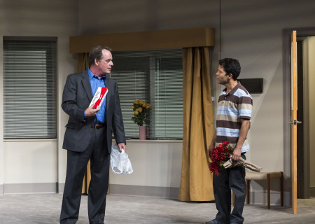 """(L–R) Tom Irwin and Carlo Alban in """"A Parallelogram"""" at the Taper."""