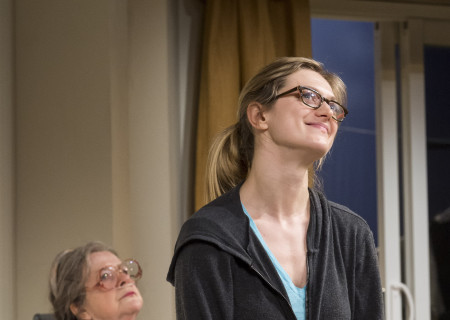 """(L–R) Marylouise Burke and Marin Ireland in """"A Parallelogram"""" at the Taper."""