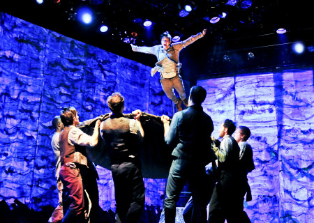 """Joey deBettencourt and the company of """"Peter and the Starcatcher."""""""